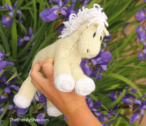 Bananas: Palomino Pony Natural Wool Stuffed Animal Baby Toy Waldorf Horse - thatfamilyshop.com