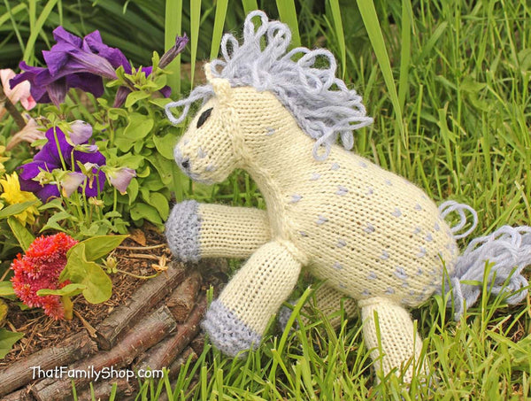 Nico: Knitted Pony Stuffed Animal Horse Natural Waldorf Inspired Eco Friendly Toy-thatfamilyshop.com