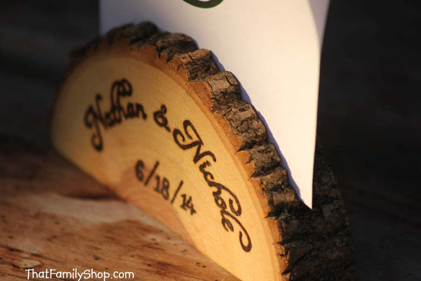 Personalized Card Holder Rustic Wedding Favor Custom Names /Initals /Date /Lettering Memory Picture Stand-thatfamilyshop.com