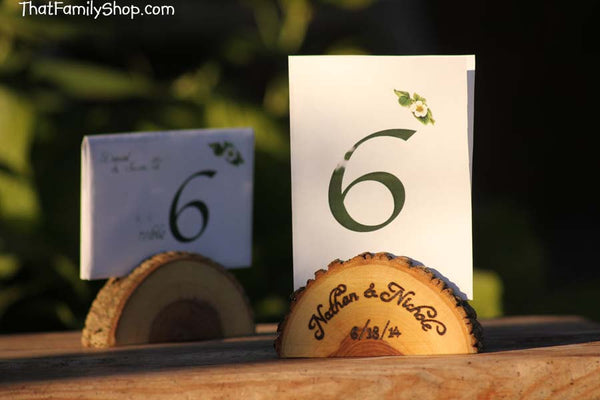 Personalized Card Holder Rustic Wedding Favor Custom Names /Initals /Date /Lettering Memory Picture Stand - thatfamilyshop.com