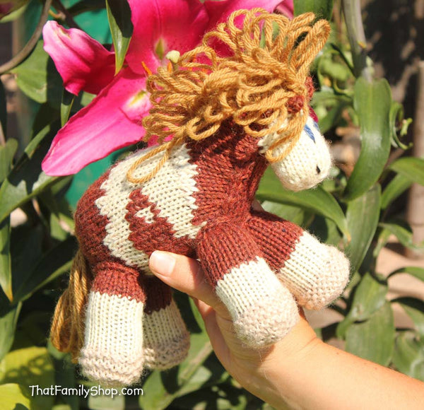 Rain: Pony Animated Spirit Movie Girl's Knitted Pony Stuffed Animal Natural Wool-thatfamilyshop.com