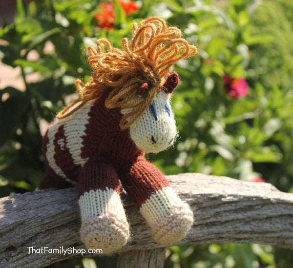 Rain: Pony Animated Spirit Movie Character Girl's Knitted Pony Stuffed Animal Natural Wool Waldorf Inspired Play-thatfamilyshop.com