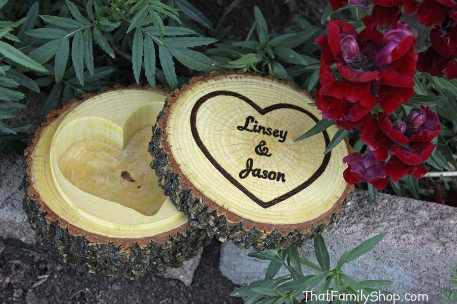 Rustic Jewelry Box Log with Hollowed Heart, Ring Bearer Pillow Dish with Lid Custom Personalization-thatfamilyshop.com