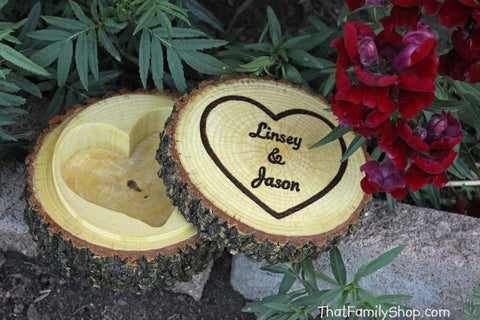 Rustic Jewelry Box Log with Hollowed Heart, Ring Bearer Pillow Dish with Lid Custom Personalization - thatfamilyshop.com