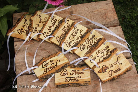 Love is Patient, Set of 10 | Cor.13: Rustic Wedding Aisle Decorations Bible Scripture Verses - thatfamilyshop.com