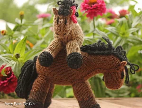 Lilly: Mini Pony, Filly Pink Bow Stuffed Animal Knitted Horse Filly Natural Waldorf Toy - thatfamilyshop.com