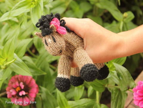 Lilly: Mini Pony, Filly Pink Bow Stuffed Animal Knitted Horse Filly Natural Waldorf Toy-thatfamilyshop.com