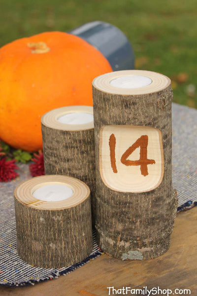 Table Number Log Candles Rustic Wedding / Cabin Decor Table Center Piece Primitive Home - thatfamilyshop.com