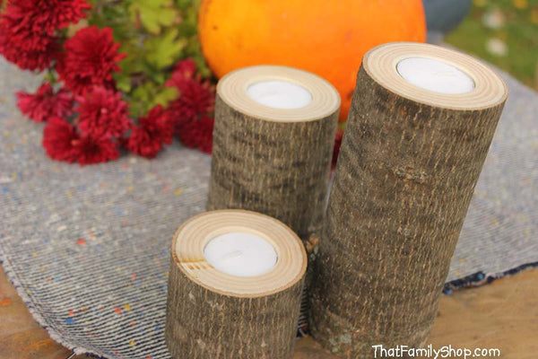 Log Candles Rustic Wedding / Cabin Decor Table Center Piece Primitive Home-thatfamilyshop.com