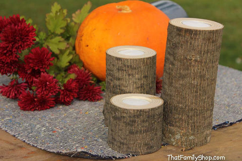Log Candles Rustic Wedding / Cabin Decor Table Center Piece Primitive Home - thatfamilyshop.com