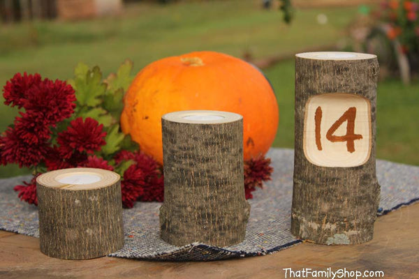 Table Number Log Candles Rustic Wedding / Cabin Decor Table Center Piece Primitive Home-thatfamilyshop.com