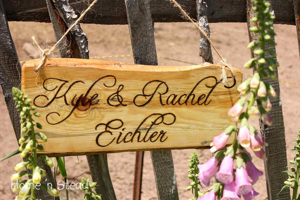 Wood Burned Custom Rustic Wedding Plaques Names Cabin Signs Personalized - thatfamilyshop.com
