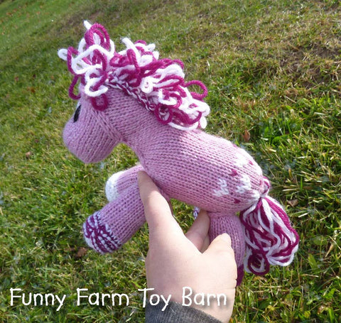 Sweetie: Knitted Pony Stuffed Animal Horse Pink Hearts Valentines Day Toy - thatfamilyshop.com