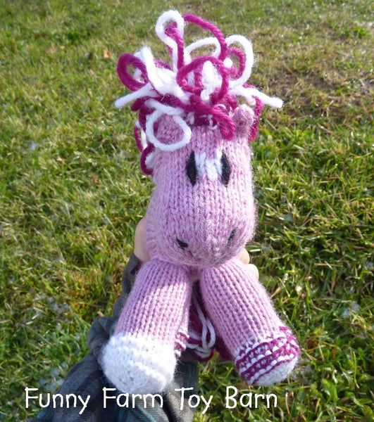 Sweetie: Knitted Pony Stuffed Animal Horse Pink Hearts Valentines Day Toy-thatfamilyshop.com