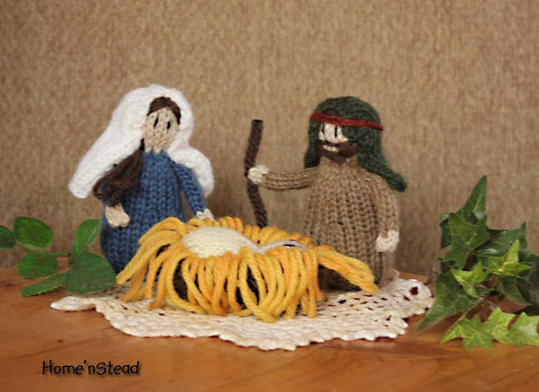 Children's Christmas Nativity Playset People Jesus Joseph and Mary Natural Wool - thatfamilyshop.com