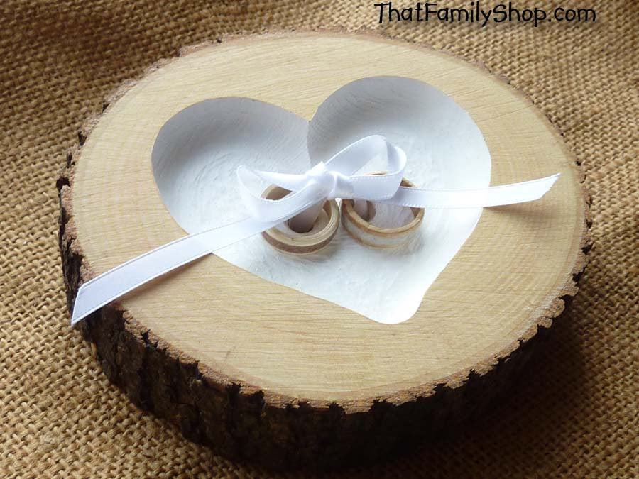 Recessed Heart Ring Bearer Pillow with Ribbon Tie-Down, Rustic Log Ring Dish Wedding Engraved - thatfamilyshop.com