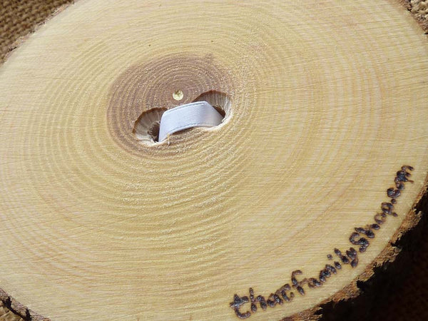 Recessed Heart Ring Bearer Pillow with Ribbon Tie-Down, Rustic Log Ring Dish Wedding Engraved-thatfamilyshop.com
