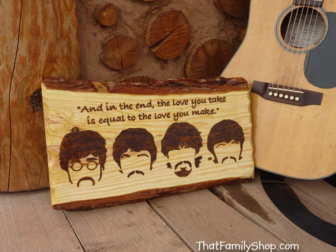 Beatles Wood Burned Wall Art Plaque Song Quote Fan Gift Famous Song Quote - thatfamilyshop.com