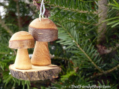 Christmas Mushroom Ornaments Pair Tree Set Holiday Decor Rustic - thatfamilyshop.com