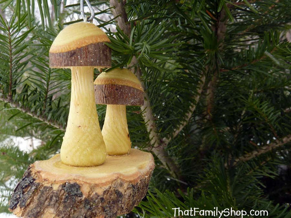 Christmas Mushroom Ornaments Pair Tree Set Holiday Decor Rustic-thatfamilyshop.com