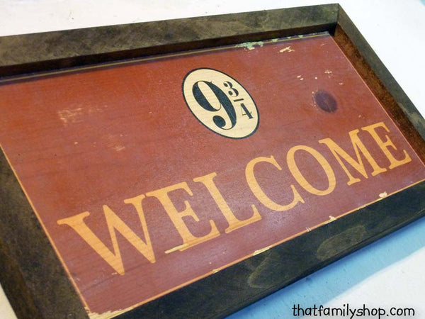 Harry Potter Inspired Welcome Plaque Sign Hogwarts Express Unique - thatfamilyshop.com