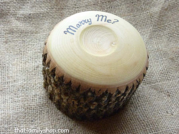 Personalized Log Jewelry Box, Rustic Heart-Shaped Custom Wedding Ring Holder-thatfamilyshop.com