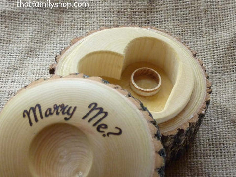 Personalized Log Jewelry Box, Rustic Heart-Shaped Custom Wedding Ring Holder - thatfamilyshop.com