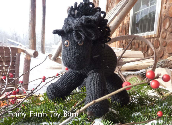 Black Beauty: Knitted Pony Stuffed Animal Horse Natural Waldorf Inspired Eco Friendly Toy - thatfamilyshop.com