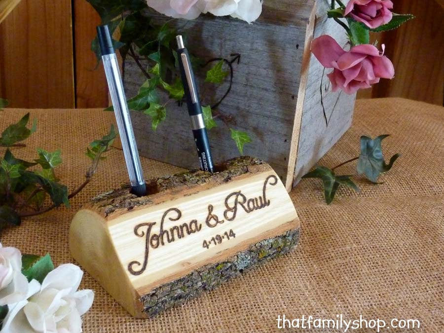 Log Guest Book Pen Holder with Custom Names or Initials, Personalized Rustic Wedding, Table Decor, Desk Organizer, Office Gift Idea-thatfamilyshop.com