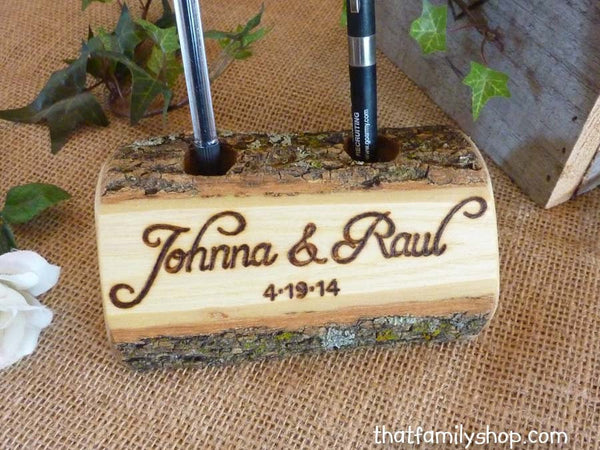 Log Guest Book Pen Holder with Custom Names or Initials, Table Decor, Desk Organizer - thatfamilyshop.com