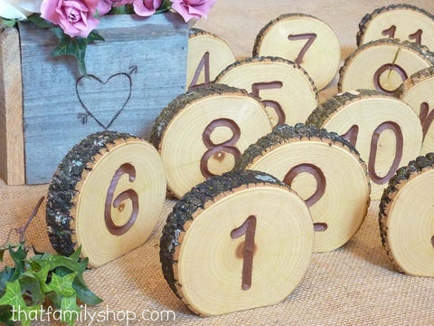 Engraved Table Number Log Slices, Rustic Wood Bark Country Wedding Decor-thatfamilyshop.com
