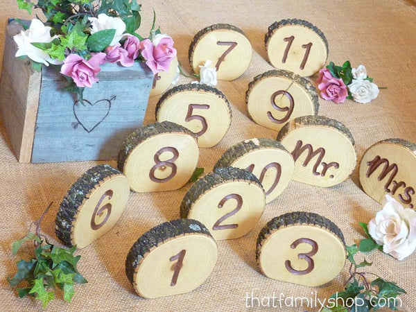 Engraved Table Number Log Slices, Rustic Wood Bark Country Wedding Decor - thatfamilyshop.com