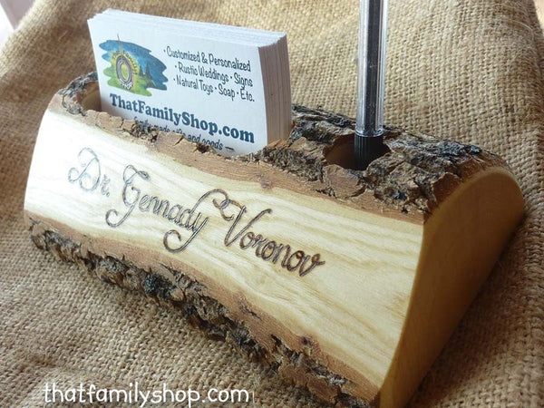 Rustic Business Card and Pen Holder with Custom Names, Initials, Personalized Office Desk Decor - thatfamilyshop.com