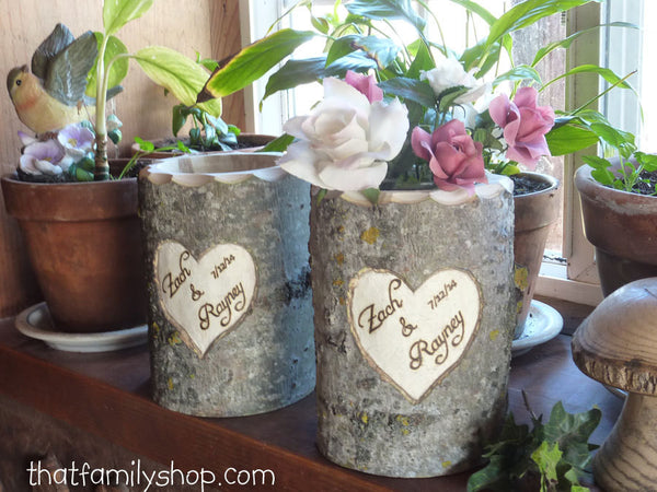 Personalized Mason Jar Holder Log Rustic Wedding Flower Vase with YOUR Names/Date-thatfamilyshop.com
