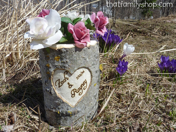 Personalized Mason Jar Holder Log Rustic Wedding Flower Vase with YOUR Names/Date - thatfamilyshop.com