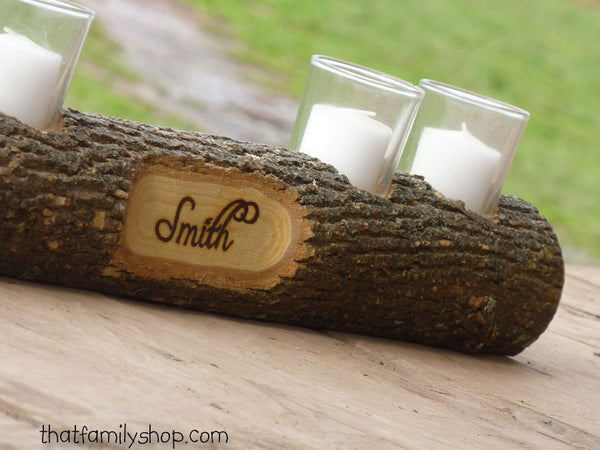 Mantel Decor Name Log Holder Rustic Custom Centerpiece-thatfamilyshop.com