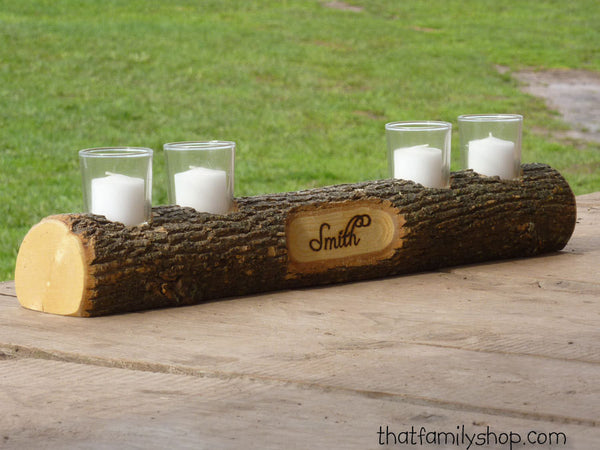 Mantel Decor Name Log Holder Rustic Custom Centerpiece - thatfamilyshop.com