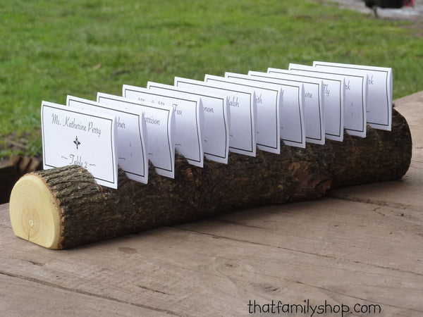 Log Placecard Card Holder Table Setting Rustic Wedding Display - thatfamilyshop.com