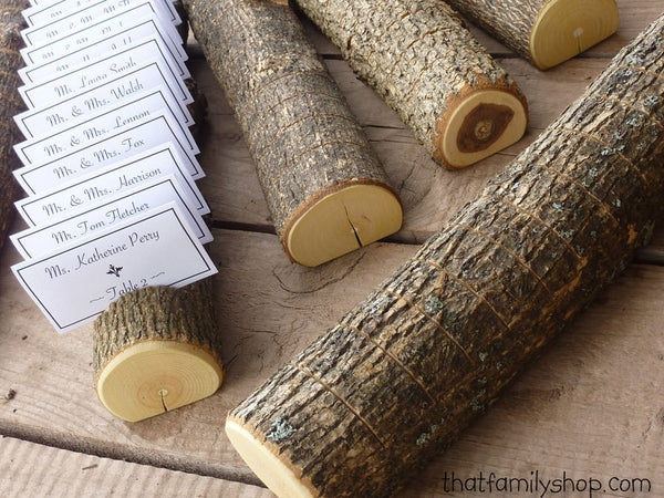 Log Placecard Card Holder Table Setting Rustic Wedding Display-thatfamilyshop.com