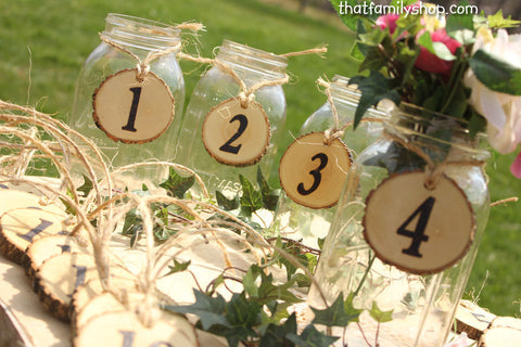 Table Number Tokens, Mason Jar Rustic Wedding Table Seating Display - thatfamilyshop.com
