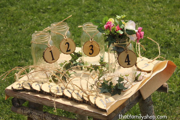 Table Number Tokens, Mason Jar Rustic Wedding Table Seating Display-thatfamilyshop.com