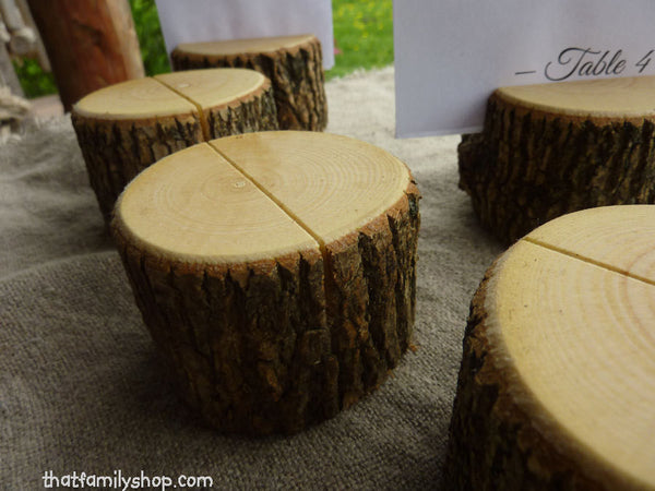 Rustic Wedding Log Table Number Stand Place Card Setting-thatfamilyshop.com