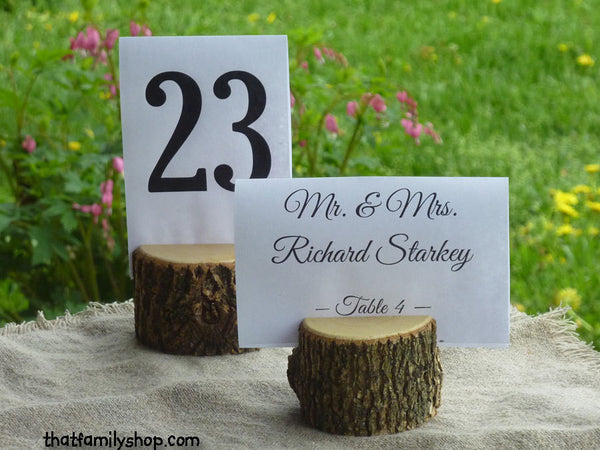 Rustic Wedding Log Table Number Stand Place Card Setting - thatfamilyshop.com