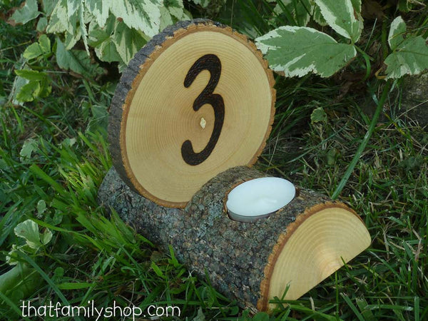 Double-Sided Tea Light Rustic Wedding Candles/ Table Number Centerpiece Decor Combo-thatfamilyshop.com