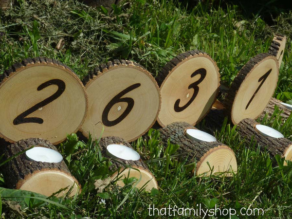Double-Sided Tea Light Rustic Wedding Candles/ Table Number Centerpiece Decor Combo - thatfamilyshop.com
