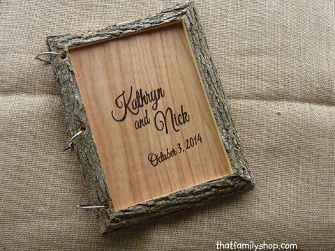 Rustic Wedding Guest Book Customized Parchment Bark Large Names Dates-thatfamilyshop.com
