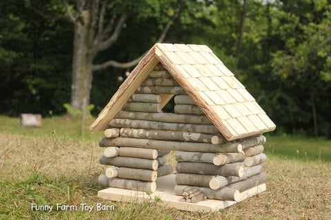 Log Cabin Dollhouse Natural Waldorf Custom Sized Girl's Doll House Rustic - thatfamilyshop.com