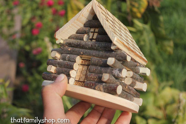 Miniature Cabin Cake Topper Rustic Wedding Display-thatfamilyshop.com