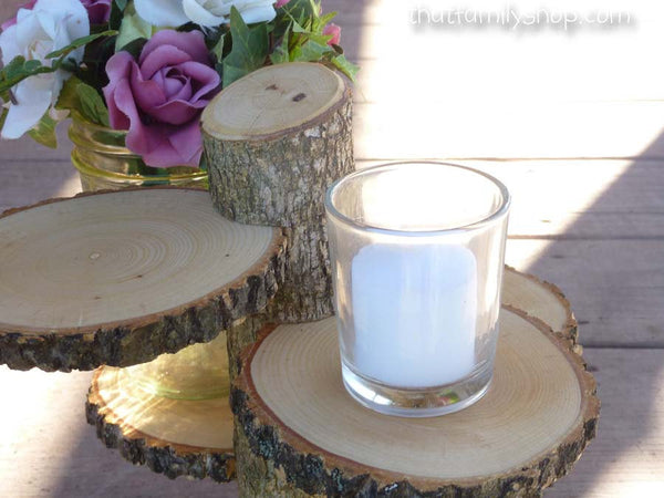 Rustic 4-Tiered Stand Candles Flowers Wedding Table Center Piece Home Decor - thatfamilyshop.com