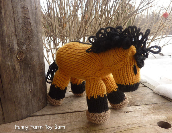 Spirit: Buckskin Toy Horse Girl's Knitted Pony Stuffed Animal Dun Strip Natural Wool Waldorf Inspired Play-thatfamilyshop.com